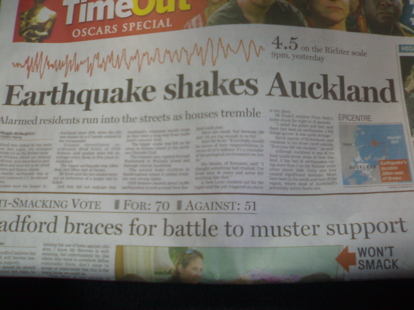 Earth Quake in Auckland